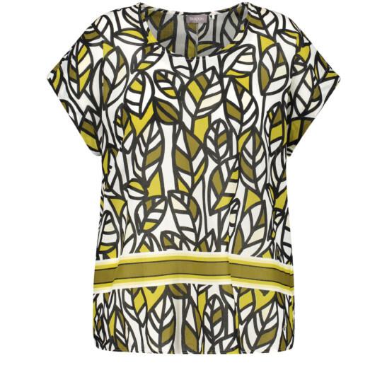 Blusenshirt mit Zitronenblätter-Druck