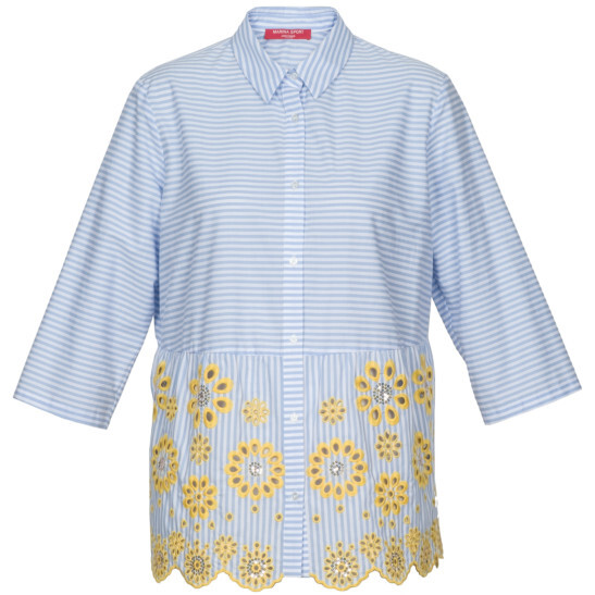 Bluse mit modischer Stickerei aus reiner Baumwolle