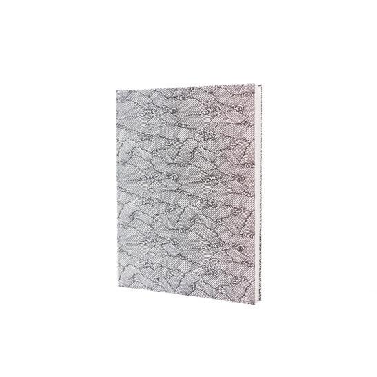 Notizbuch Tokyo Memo Chiyogami 17x22cm 120 S. Wellenspiel schwarz